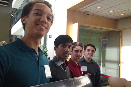 Henry Ekwaro-Osire '14, (from left), Nikhil Lal '14, Peter Ingato '14 and Oliver Kliewe '14, at the Cornell Undergraduate Research Forum.