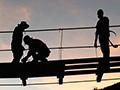 Bridge building at sunset