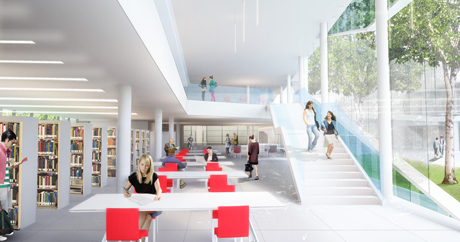 rendering of library reading room