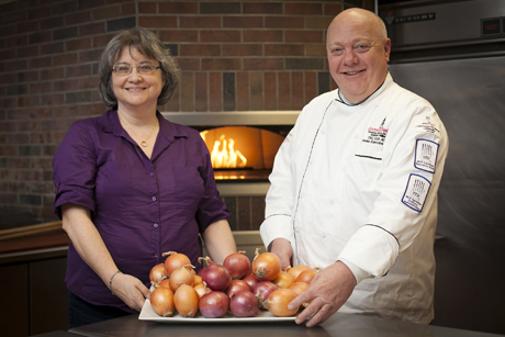 Martha Mutschler and Steve Miller with onions