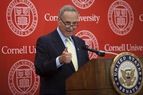 Sen. Charles Schumer pledges support for Cornell Sept. 3. Robert Barker/University Photography