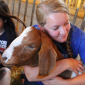 girl hugs goat