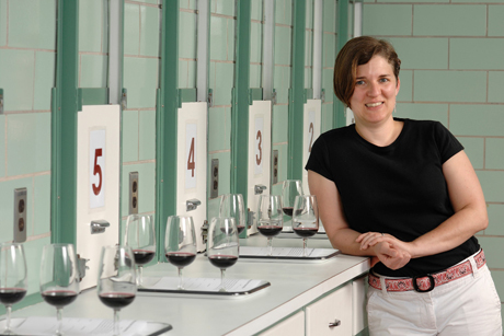 Assistant professor of enology Anna Katharine Mansfield found that removing descriptors from the tasting sheets for varietal wines (wines named after the grape variety) may increase wine sales. By TAGG Photography