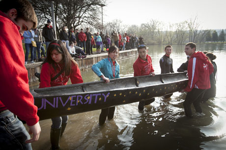 students with canoe