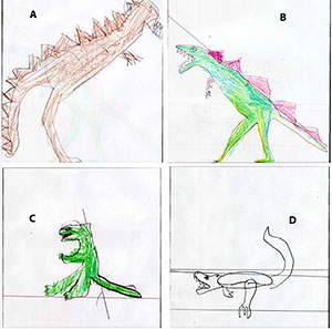 T. rex sketches by young students