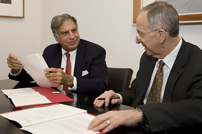 Alumnus Ratan Tata and President David Skorton