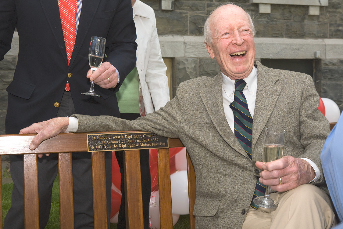 Austin Kiplinger sits on bench dedicated for him
