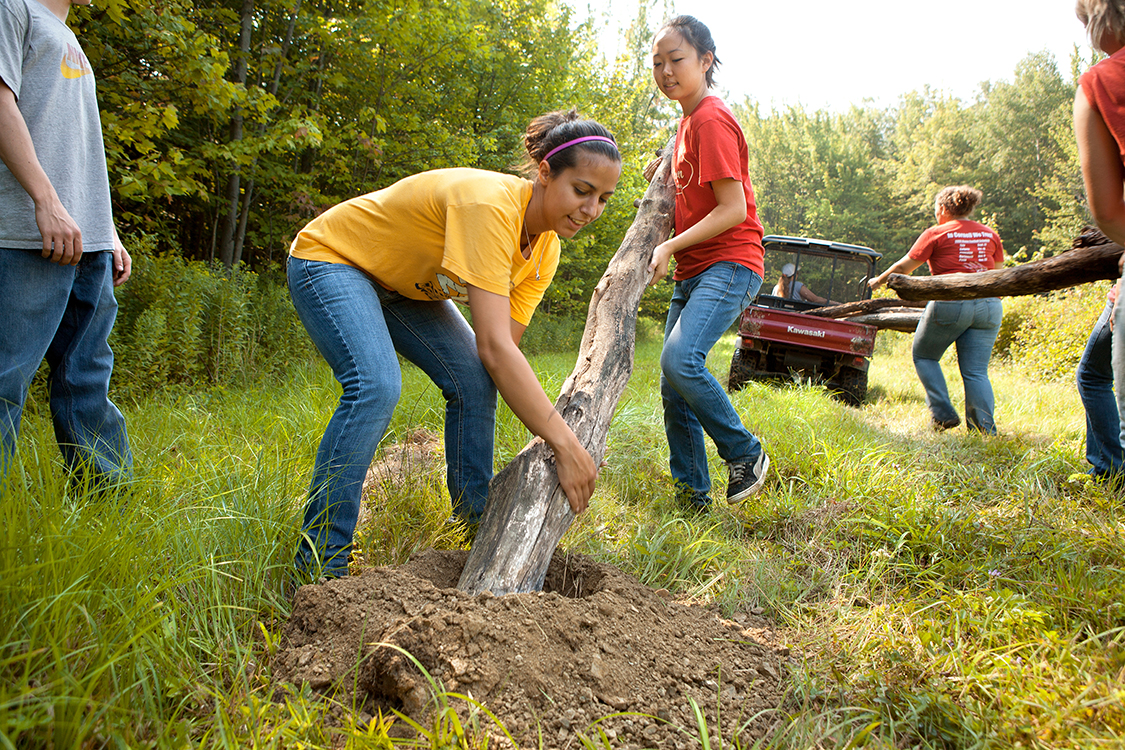 Students doing community service