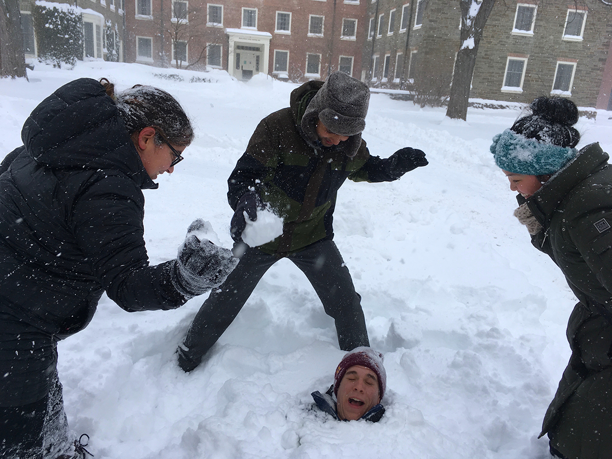 Student buried in snow